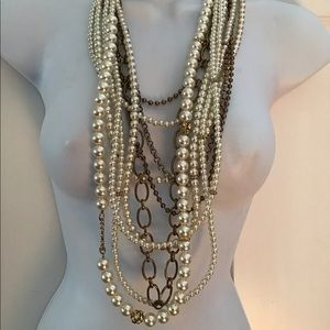 NWT CHICO'S Pearls Gold Tone 10 rows Necklace